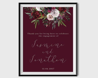 A3 Engagement Party Sign  | Printable | Calligraphy + Deep Berry Florals