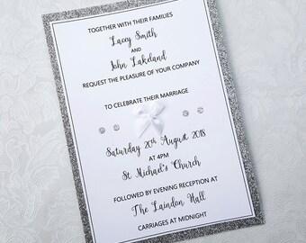 Wedding Invitation, Invitations, Wedding, Mr and Mrs, Mr and Mr, Mrs and Mrs, Silver and White Invitiations, The Monochrome Bow