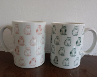 Mid Century Kitty Cat Coffee Tea Cup Mug set of 2 Sitting Pretty All Over Graphic 1950's