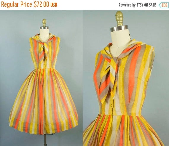 SALE 15% STOREWIDE 1950s sheer striped sundress/ 50s sirtwaist day dress/ extra small xs