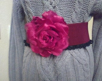 Belt elastic wide and large red organza flower