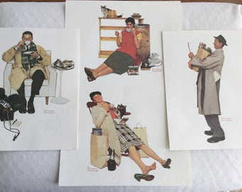 Norman Rockwell White Rose Tea Prints Set Lithographs Mother's Day Father's Day