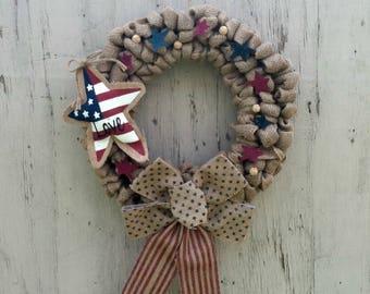 Patriotic Wreath, Rustic Burlap Wreath, Love, Patriotic Decor, Summer, Fourth of July, Burlap, Rustic, Country, Wreath, July 4th, Year Round