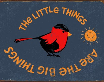 "Vintage Look Little Things Cardinal Tin Sign 9""x12"""
