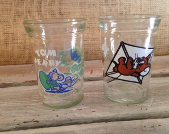 Two Tom & Jerry Welchs Jelly Jars/Juice Glasses *Whimsical Graphics*