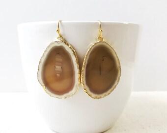 Natural Geode Earrings - Geode Slice Earrings Stone
