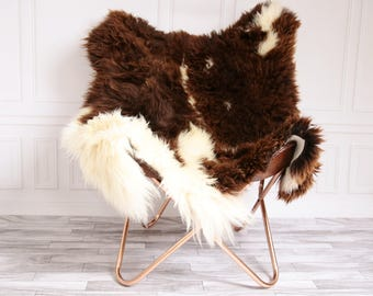 ON SALE Double Sheepskin Rug | Square rug | Shaggy Rug | Chair Cover | Area Rug | Brown Rug | Carpet | Brown Sheepskin | Brown Sheepskin