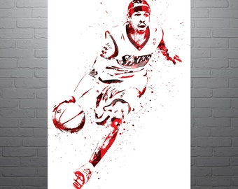 Allen Iverson Philadelphia 76ers, Sports Art Print, Basketball Poster, Kids Decor, Watercolor Abstract Drawing Print, Modern Art