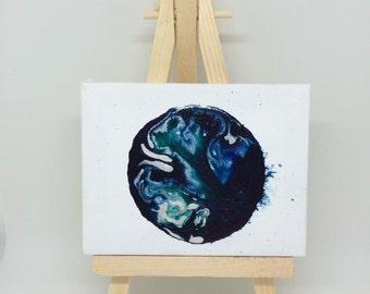 Minature world-  world canvas - globe - abstract world painting - mini canvas - sci-fi art - astronomy gift - galaxy painting - art gift