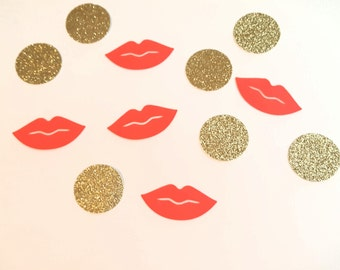 Lips and glitter gold confetti red or pink lips 1 inch circles and 1.5 inch lips 100 pieces