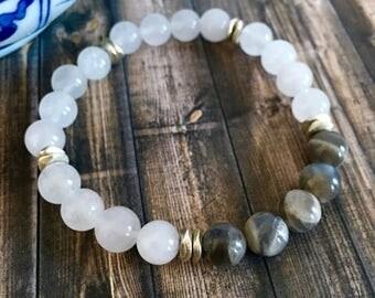 Grey Moonstone Snow Quartz Wellness Bracelet, Healing Crystals,Yoga Bracelets, Birthday Gift Ideas, Gifts for Her, Moonstone Bracelets
