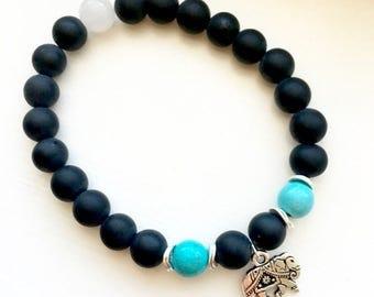 Matte Black Onyx Turquoise Magnesite Snow Jade Silver Elephant Charm Bracelet, Protection Stone, Onyx Bracelets, Elephants Jewelry