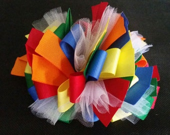 Funky Loop Multi Colored Hair Bow (BIG BOW!)