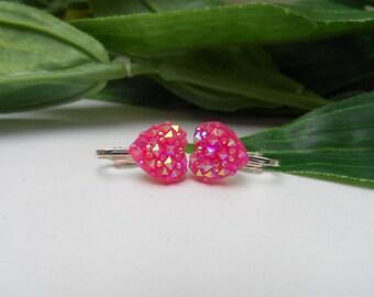 Girls Pink Heartl Clip on Earrings, pearl earrings, Pink clip on earrings, heart clip on earrings, dress up clip on earrings