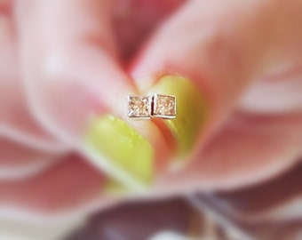 Natural Pink Diamond Earrings - Princess Cut Diamond Studs - 14k Solid Gold - Bridal Jewelry - Tiny Diamond Earrings - Minimalist Jewelry