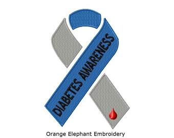 Awareness Ribbon Diabetes Unique Urban Machine Embroidery Design