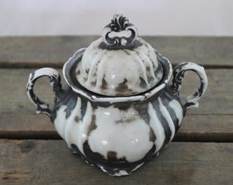 Tarnished Silver Plated Sugar Bowl with Lid