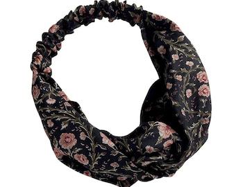 Silk Hairband Black Flora