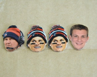 Tom Brady stud earrings, New England Patriots, Go Pats! Pre-Season Price Cut!