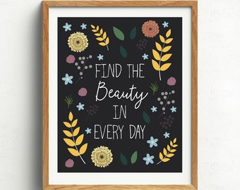 Motivational Quote Print, Vintage Flowers, Find the Beauty in Every Day, Typography Print