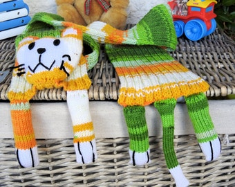 Handmade Multicolored Child's Cat Scarf - Free Shipping