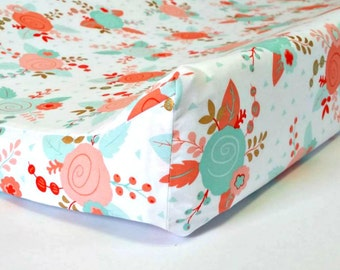 Mint, Coral Floral Changing Pad Cover, Shabby Chic Nursery , Coral, Mint, Gold, Baby Girl