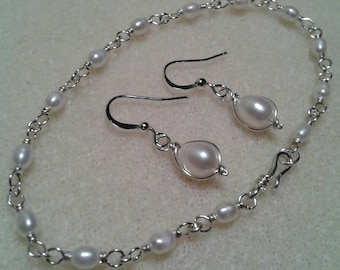 Sale! Sterling Silver Wire Wrapped Freshwater Pearl Earrings And Bracelet Set