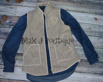 Monogrammed Tan Herringbone Vest - Personalized Embroidered Tweed Vest