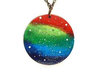 Rainbow Necklace, Lesbian Necklace, Rainbow Pendant, LGBT Jewelry, Pride Necklace, Lesbian Jewelry, Gay Pride Gift, Rainbow Jewelry