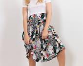80s Vintage Geometric Print Skirt / Drop-waist, Tiered, Calf-length Midi skirt, size 10, Rozangela label