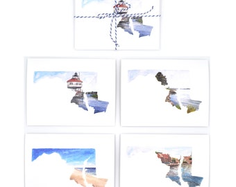 Maryland Art Card - Maryland Gift - Watercolor Notecards - Maryland Greeting Card -  Ocean City, MD - Maryland - Maryland Art