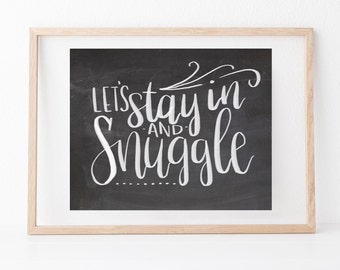 Hand lettered home wall art, love print, typography husband gift, holiday present, bedroom home decor quote, Valentines Day card, boyfriend