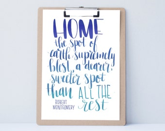Hand lettered home wall art, print, typography gift, holiday present, bedroom home decor quote, card, mom sister dad brother, home