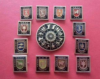 Zodiac pin badge. Astrological signs, Set of 13 badges, Vintage collectible badge, the USSR, Soviet Vintage Pin,