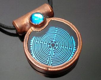 Violet Blue Alien Crop Circle Maze Copper Electroformed Dichroic Boroimage Pendant - Lampworked pendant - 33mm