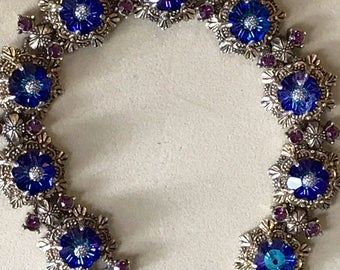 50s Florenza Bracelet Blue Margurita Rhinestones Accented with Purple Rhinestones in a Bronze Tone Base Metal - A Timeless Vintage Bracelet