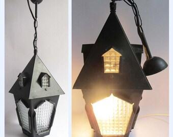 Large Mid century Black Iron & Optic Glass Hanging Lantern Porch Light