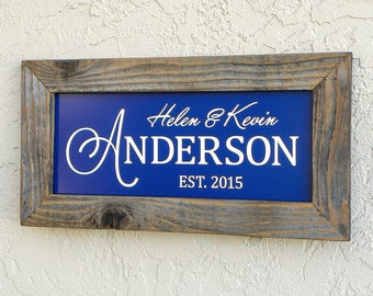 Personalized Family Name Sign. Custom Signs. Reclaimed Wood Frame. Established Family Name Sign. Rustic Sign. Custom Wedding Gift. 20x10