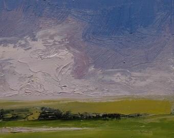 Lavender Sky. 8X8 Original landscape oil painting
