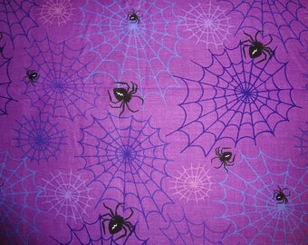 Fabric, Purple Spider Halloween Fabric, Novelty Fabric, Fabric by the Yard