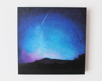 "Nightscape 1. 'Shooting Star Trio.' Original Acrylic Painting - 12"" x 12"" Night Sky Landscape"