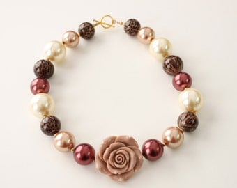 Tan Rosette with Leopard and Pearl Chunky Gumball Necklace 4044
