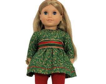 Golden Green Holly Berry Dress, Red Leggings and Golden Shoes for 18 Inch Dolls such as American Girl, Our Generation, Madam Alexander