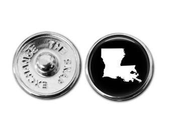 Louisiana charm, Louisiana jewelry, Louisiana map charm, snap button jewelry, button snap jewelry, button jewelry, snap charm jewelry