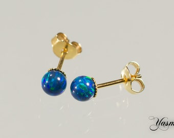Opal in dark blue to sterling gold plated