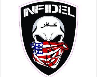 Infidel Skull Bandanna Printed Vinyl Deca / Sticker 2(TWO) Pack
