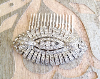Authentic Art Deco rhinestone hair comb, pavé, 1920s wedding, rustic, bridal, hair jewelry, decorative hair comb, Art Deco, hair slide