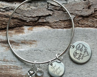 A True Love Story Never Ends Personalized Adjustable Wire Bangle Bracelet