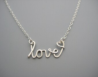 Silver Love Necklace with Tiny Heart, script word jewelry on delicate sterling silver chain, wife anniversary gift