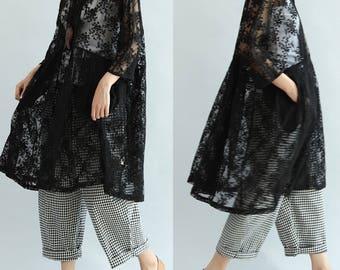 women cotton dress/women black dress/women loose dress/women leisure dress/women summer dress/NBJ04D2915